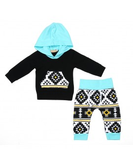 Infant Unisex Clothes Set Baby Boys Girls Long Sleeve Black Pocket Hoodies Tops + Pants Suits Toddler Kids Fashion Clothing