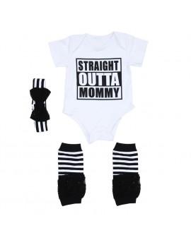 Newborn Fashion Clothes Baby Boy Girl Infant Letter Print Short Sleeve Jumpsuit Bodysuit + Socks + Headband Outfits