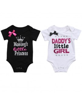 Newborn Kids Baby Infant Girl Cotton Bodysuit Mommy/Daddy's Princess Jumpsuit Summer Outfit Clothes