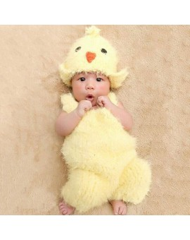 Newborn Photography Props Infant European New Chicken Photography Sweater Suspenders + Hat Suit