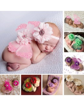 Newborn Silk Butterfly Photo Props Baby Flower Headband+Wing Costume Photo Photography Prop Outfit