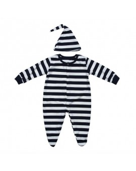 Newborn Striped Clothing Baby Boys Girls Cotton Anti-kick Footed Romper Long Sleeve Sleepwear Night Robe with Hat Infant Clothes