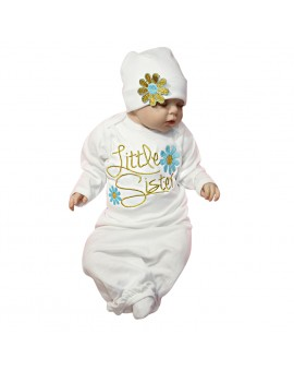 Baby Embroidery Sleeping Bag Infant Flower Pure Cotton Long Sleeve Bed Swaddle Blanket Wrap Toddler Kids Sleeper Gown with Hat