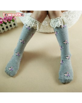 2-8T Autumn Winter Floral Kid Girls Socks Children's Knee High Socks with Lace Baby Leg Warmers Cotton Princess Style