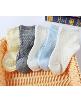 2015 White Solid Thin Soft  Cotton Children For Boys Mesh Students Boys Socks