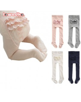 2016 New Cotton Knitting Baby Girls Tights Lace Princess  Spring Style Soft Fashion Children Tights 0-4T