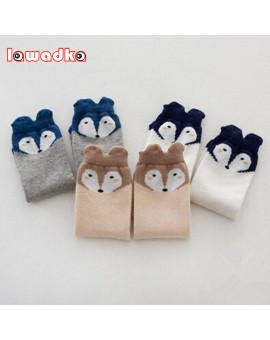 3Pair/Lot Soft Cotton Knee Baby Socks Winter Fall  Cute Boys Girls Socks  Fox Design Children's Girls Boys Socks