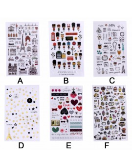 1 Sheet Children Creative Cartoon PVC Stickers DIY Scrapbooking Photo Album Decorative Stickers