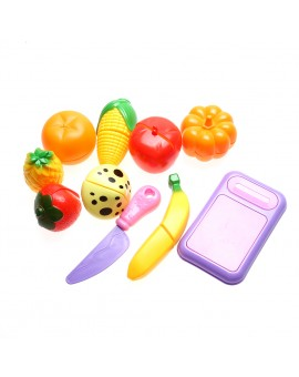 10pcs/set Kitchen Fruit Vegetable Cutting Kids Pretend Play Educational Toy for Kids Playing House