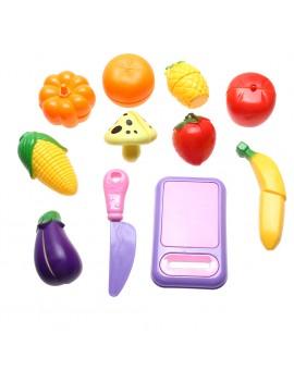 11pcs/set Kitchen Fruit Vegetable Cutting Kids Pretend Play Educational Parent-child Interaction Toy Set