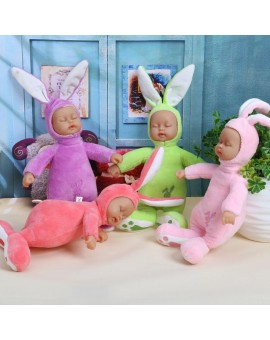 25cm Rabbit Stuffed Baby Doll Kids Plush Toy Children Simulated Babies Lifelike Sleeping Reborn Dolls for Girls Birthday Gift