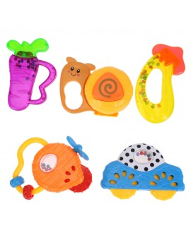 2pcs/3pcs Baby Cartoon Handbells Infant Plastic Musical Developmental Rattle Toys Random Color