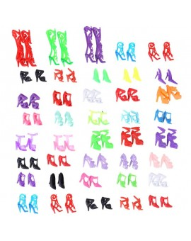 40 Pairs Doll Shoes Fashion Cute Colorful Assorted Shoes for Barbie Dolls Accessories Girls Birthday Toys Gift