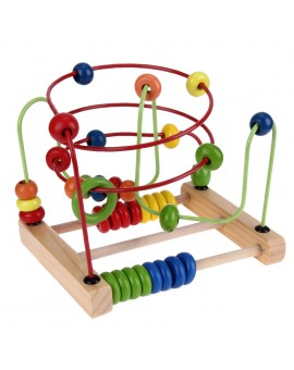 Large Counting Circle Bead Abacus Wire Roller Coaster Wooden Baby Montessori Educational Math Toy