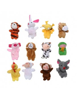 12pcs/lot Chinese Zodiac Animals Cartoon Biological Finger Puppet Plush Toys Dolls Child Baby Favor Finger Doll