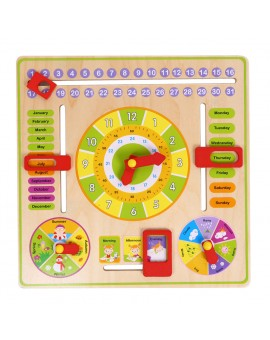 Wooden Cognitive Calendar Clock Toy Multifunction Early Education Toys Calendar Months Date Weather Week Season Learning Blocks