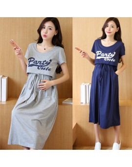Envsoll Maternity Dress Breastfeeding Two-piece Suit Short-sleeved Maternity Clothes For Pregnant Women Long Korean Skirt w07