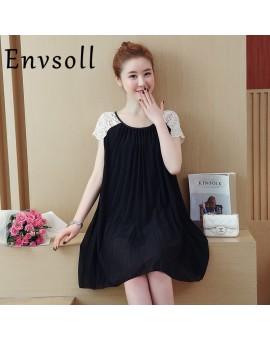 Envsoll 2017 New Summer Lace Chiffon Dress Plus Size Pregnant Dress For Pregnant Women Maternity Clothes Clothing Pregnancy