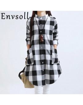 Envsoll 2017 Spring New Korean Lattice Pregnant Blouse Maternity Dress Long-sleeved Pregnancy Clothes For Pregnant Women LDS01