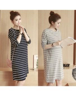 2017 Spring Autumn Nursing Dress Breastfeeding Maternity Clothes For Pregnant Woman Cotton Striped Lactation Long Dress