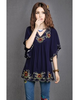 Floral Embroidered Maternity Blouse Vintage Summer Plus Size Clothing Blouses Shirt For Pregnant Women Casual Gravida Shirts