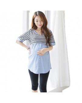 Summer Maternity Blouses Shirt Striped Nursing Top Blouse Shirts Breastfeeding Pragnancy Clothes For Pregnant Women Feeding TP09