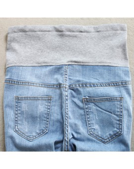 2017 Light Blue Hole Denim Maternity Jeans Pants for Pregnant Women Matenrity Clothes Pregnancy Belly Pencil Trousers Embarazad