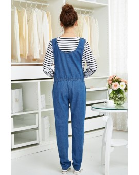 Nursing Pants Pregnant Jeans for Pregnant Women Spring Autumn Blue Denim Plus Size Overalls Maternity Clothes Suspender Trousers