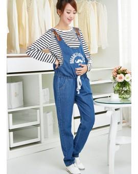 Nursing Pants Pregnant Jeans for Pregnant Women Spring Autumn Blue Denim Plus Size Overalls Maternity Clothes Suspender Trousers