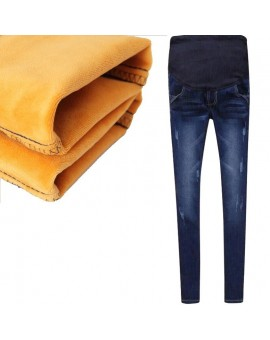 Winter Jeans Thickened With Velvet 2017 Warm Pants Denim Clothing Maternity Clothes For Pregnant Women Elastic Waist Trousers